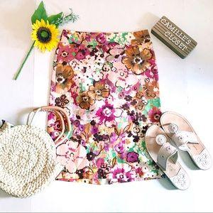 J. Crew Watercolor floral pastiche pencil skirt